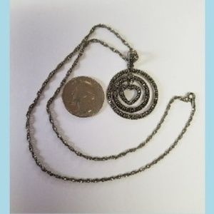 Jewelry - Marcasite & Sterling Necklace With Pendant Heart